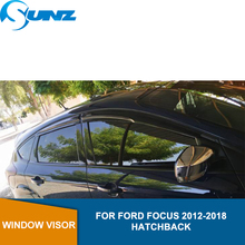 Side Winodow Deflectors For Ford Focus 2012 2013 2014 2015 2016 2017 2018 Hatchback Black Sun Shade Awnings Shelters Guards SUNZ car styling window visors for ford foucs 3 sedan hatchback 2012 2013 2014 2015 sun rain shield stickers awnings shelter