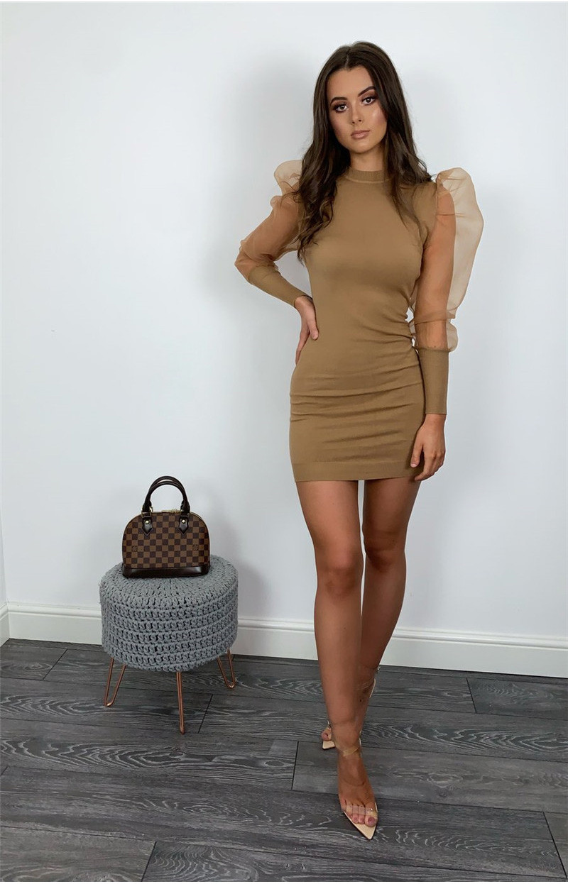 Fashion Women Bodycon Mini Dess Elegant Mesh Sheer Long Sleeve Slim Stretch Ladies Dresses Party Club Dames Vestidos Streetwear 5