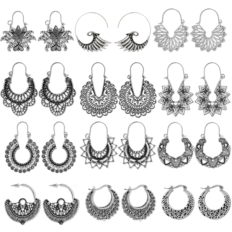 HuaTang Vintage Hollow Mandala Flowers Earrings for Women Antique Silver Color Geometric Drop Earrings Indian Jewelry brincos