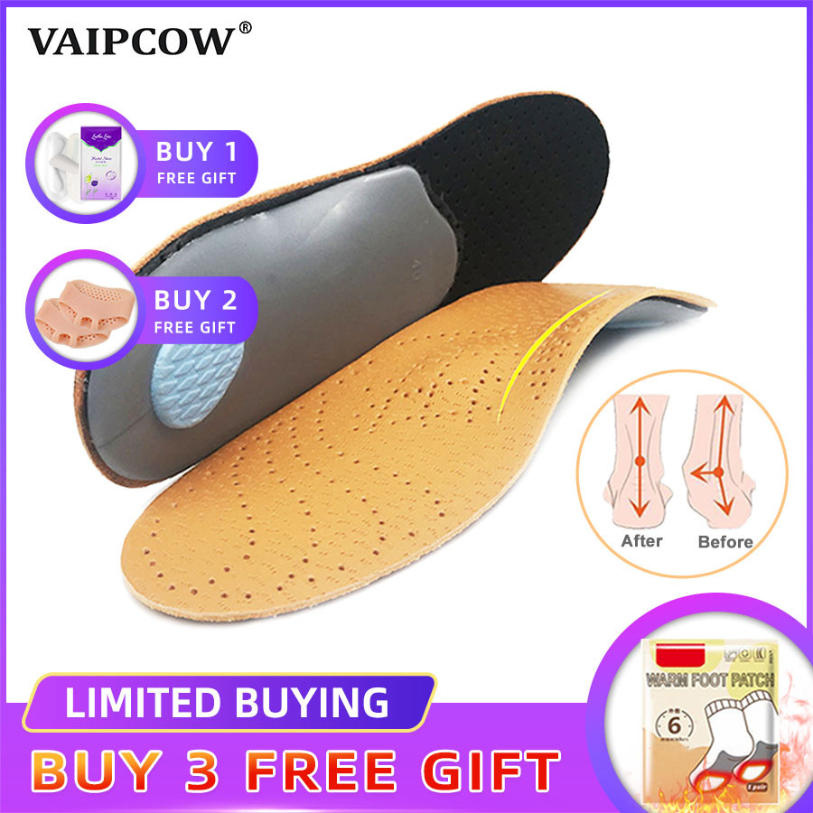 Unisex Premium Leather Orthotic Insole For Flat Foot Shoe Insoles High Arch Support Orthopedic Pad For Correction OX Leg Health