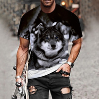 Coppia T-Shirt con stampa lupo T-Shirt 3D da uomo Drop Ship Top Tee manica corta Camiseta girocollo T-Shirt moda Casual marca 6XL