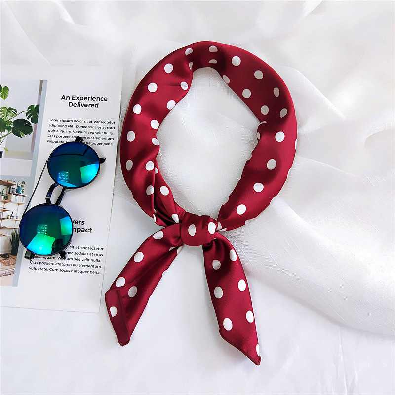 Silk Scarf Women 70*70cm 2020 Spring New Small Red Point Decorative Scarf Small Squares Head Scarf Bag Decorative Scarves