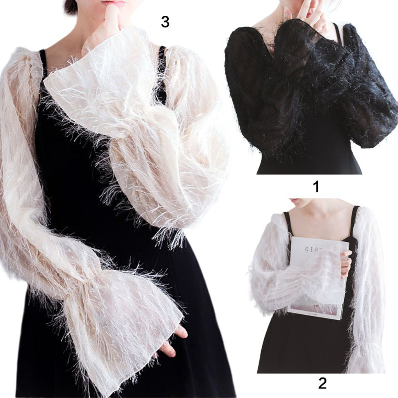 Korean Women Fluffy Detachable False Long Puff Sleeves Lady Solid Color Decorative Sunscreen Loose Arm Cover Party Clubwear