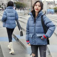 Solid Cute Thicken Outdoor Down Coat Women Girl Thermal Warn Cotton Clothing Windproof Down Jacket Female Cool Parkas