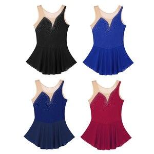 Image 5 - IEFiEL Frauen Erwachsene Tanzen Kostüme Mesh Splice Mieder mit Glänzenden Strass Eiskunstlauf Dancewear Gymnastik Trikot Kleid