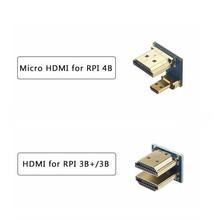 1080P HDMI do Micro HDMI konwerter Micro Adapter HDMI dla Raspberry Pi 3 4 HDMI 5 cal ekran dotykowy LCD złącze wyświetlacza tanie tanio YAHBOOM Kabel USB Do GNIAZDA DC