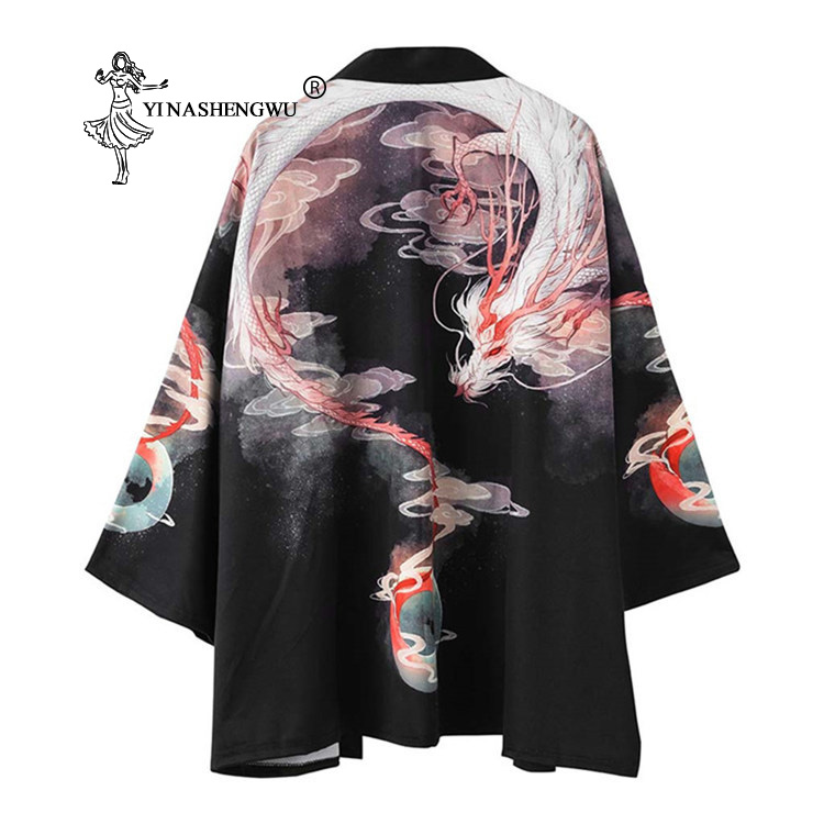 Japanese Kimono Men Yukata Women Japan Crane Print Kimono Cardigan Men Asia Sun Protection Shirt Unisex Chinese Dragon Print Top