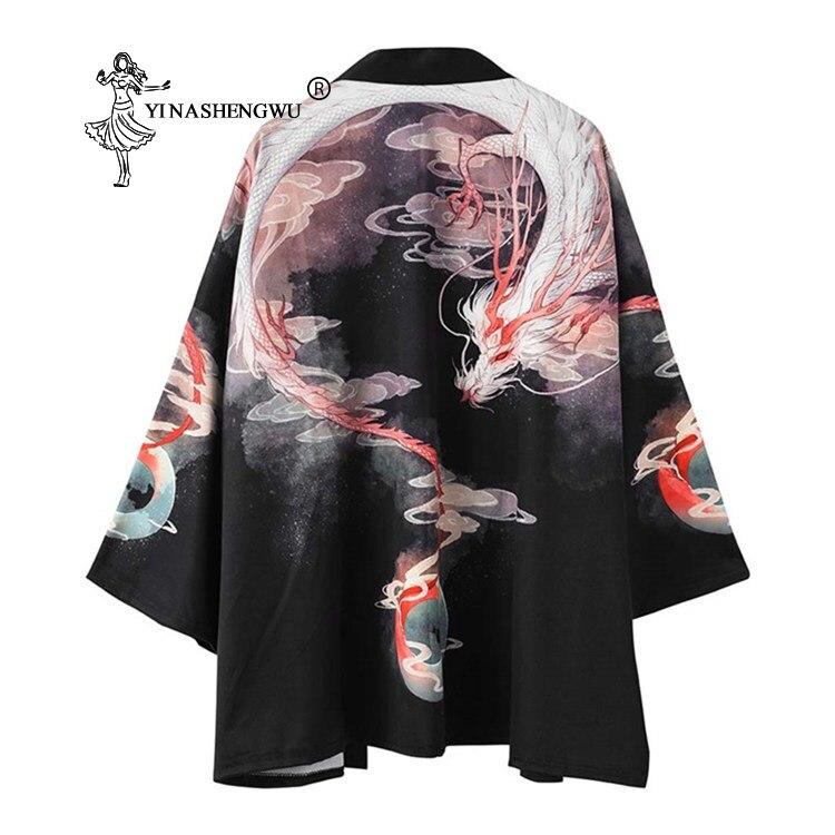 Japanischen Kimono Männer Yukata Frauen Japan Kran Druck Kimono Strickjacke Männer Asien Sonne schutz Hemd Unisex Chinesischen Drachen Print Top