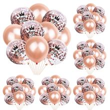 10pcs/lot  12 Inch Balloons Set Rose Gold Crown 18 21 30 Balloon Latex Package Happy Birthday
