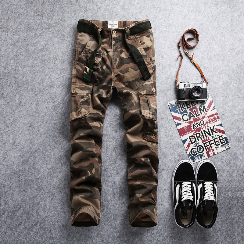 Newly Fashion Designer Men Jeans Army Green Khaki Camouflage Outdoors Military Trousers Casual Multi Pockets Cargo Pants Men