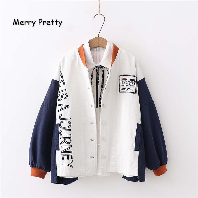 Merry Pretty Women's Cartoonn Embroidery   Basic     Jackets   2019 Winter Long Sleeve Contrast color Vintage Patchwork Pullover Coats