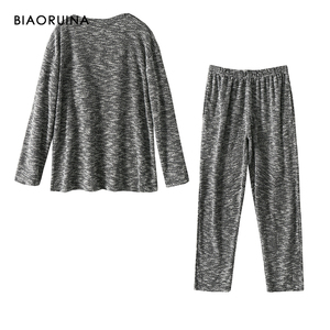 Image 2 - BIAORUINA kadın rahat pamuk karışımları rahat pijama seti kadın sıcak tutmak uyku seti sonbahar kış gevşek rahat setleri