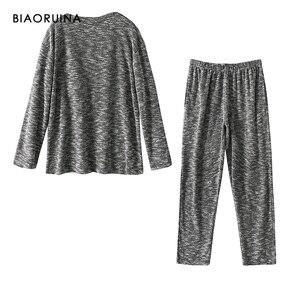 Image 2 - BIAORUINA 女性の快適なコットンカジュアルパジャマセット女性保温睡眠セット秋冬ゆるいカジュアルセット