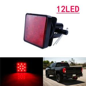 Image 2 - 1 pces 12led/15led caminhão luz de engate reboque traseiro luz de freio parar cauda singal lâmpada com preto vermelho 2 Polegada quadrado receptor padrão