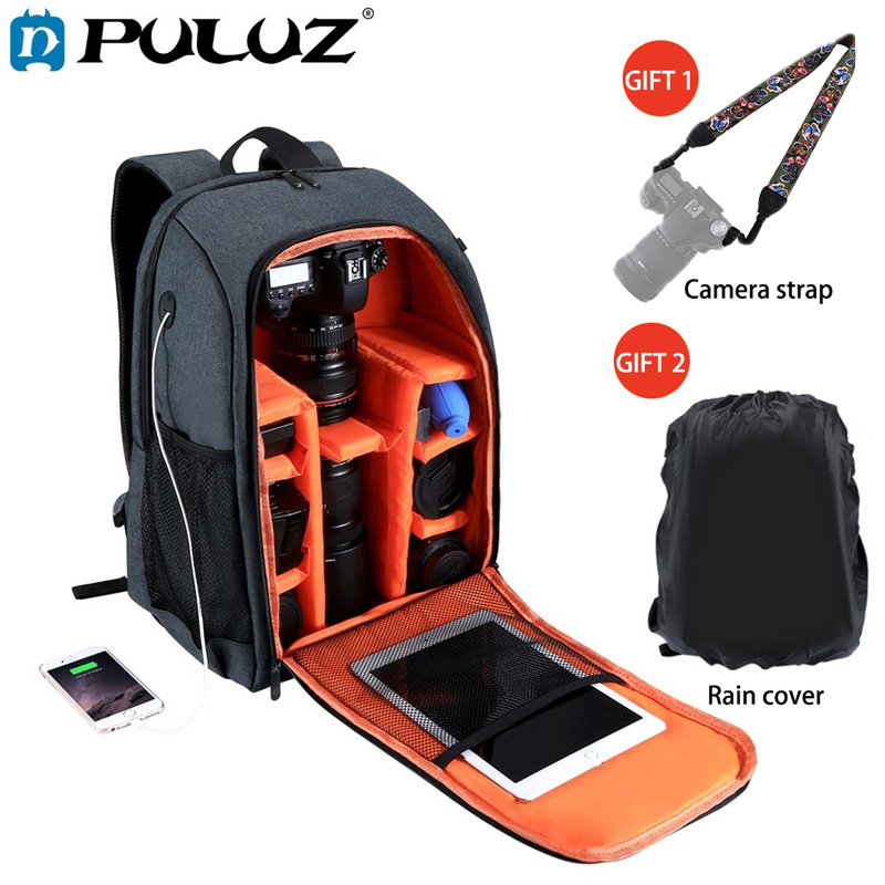 PULUZ Outdoor Portable Lowepro Waterproof Shoulders Camera Bag Backpack Photography DSLR Photo Video Lens Cases for Laptop