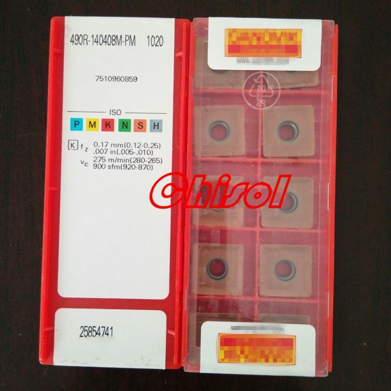 free shipping 490R-140408M-PM 1020 carbide milling inserts cutter milling cutting tools
