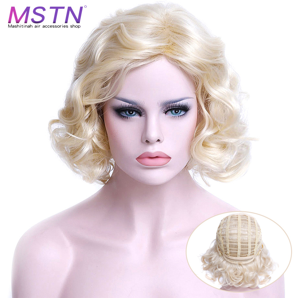 MSTN Women's Afro Retro Blonde Short Synthetic Cosplay Wig Like Marilyn Monroe High Temperature Fiber Curly Wigs