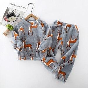 Image 3 - الشتاء الفانيلا بيجامات للأطفال مجموعات الطفل الدافئة ملابس خاصة الكرتون الحيوانات طباعة الطفل الفتيات الفتيان نوم بيجامات أطفال للبنات