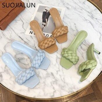 SUOJIALUN 2020 New Design Weave Women Slipper Ladies Thin High Heel Sandal Open Toe Slip On Summer Outdoor Slides Flip Flop Shoe