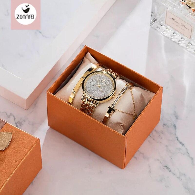 Montre femme relógio feminino de luxo senhora temperamento relógios pulseira 3 pcs conjunto corrente relógio pulso aniversário relogio feminino
