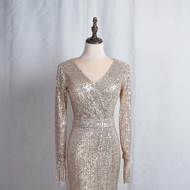 Long Sleeves Evening Gowns Champagne Gold V-neck Split Formal Dress K059 Long Mermaid Robe De Soiree 2020 Sequins Evening Dress 5