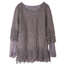 ROSEGAL Long Sleeves Insert Panel Casual Top T-Shirt Medium Korean Version Loose Sweet Lace Stitching Bottoming Female T-Shirts(China)