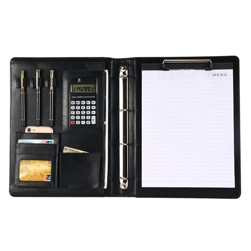 A4 Folder For Documents PU Leather File Bags Calculator Binder Multi-function Business Pads Manager Portfolio Office Supplies