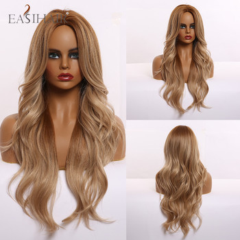 Long Light Brown Wigs Body Wavy Hairstyle Cosplay Middle Part Heat Resistant Synthetic Wigs for Black Women Afican American james brown body heat