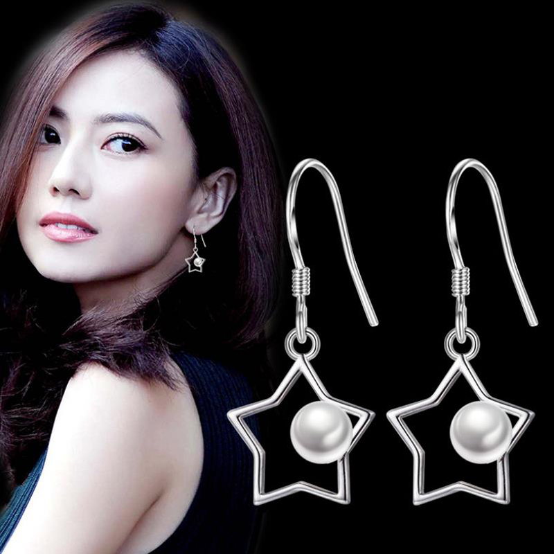 925 sterling silver Temperament Female Jewelry High Quality Woman Fashion Hollow Star Pearl Earrings Party Earring 5Y411