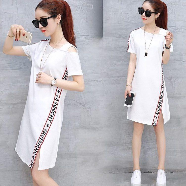2019 Summer New Style Korean style Large Size Slimming Mid length Slit Fashion Dress off Shoulder Short sleeve Dress on AliExpress