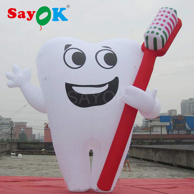 6m/20ft Giant Inflatable Tooth with Blower Inflatable Toothbrush for for Hospital Dentist Health Advertising Decoration image