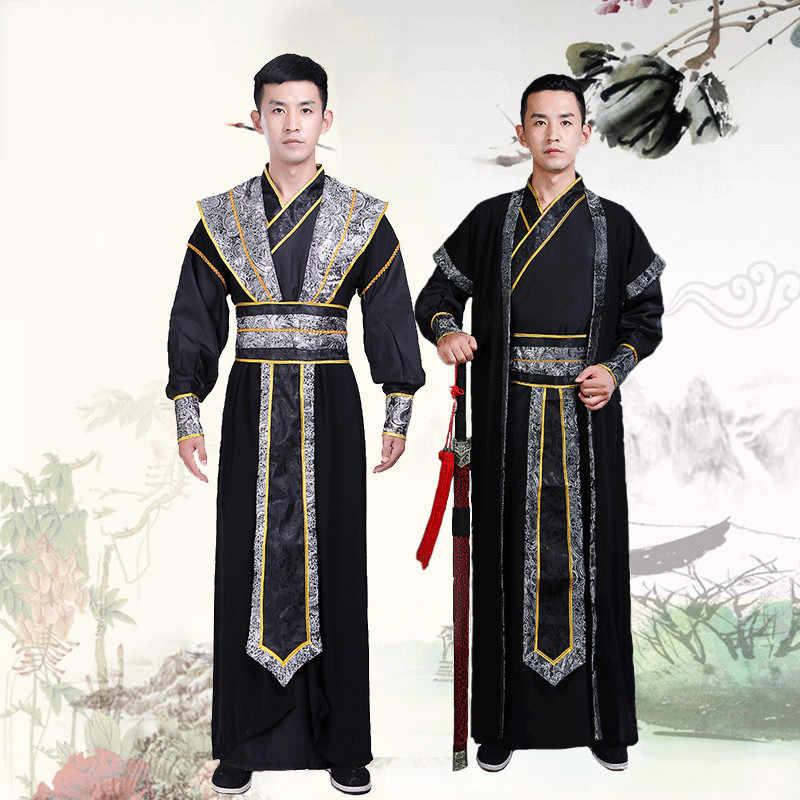 Mens Ancient Swordsman Clothing Chinese Retro Hanfu Scholar Cosplay Costume New