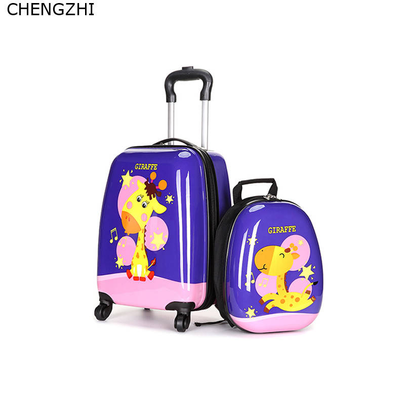 CHENGZHI Cute Cartoon Children Rolling Luggage Set Spinner Wheels 18inch Carry on Trolley Suitcase  Kids animal Travel Bag
