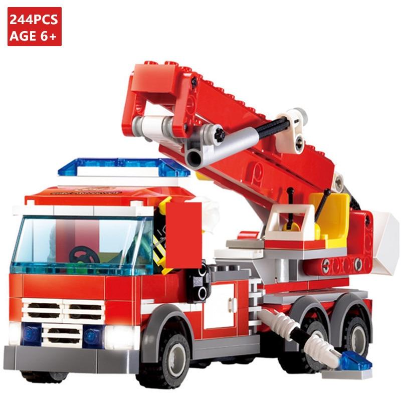 244 шт город пожаротушения строительные блоки для грузовиков наборы Brinquedos Playmobil кирпичи фигурки пожарных Развивающие игрушки для детей