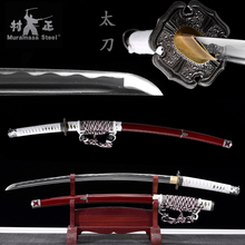 Tachi-Sword Ready-Samurai Real-Steel Saya Handmade Sharp Cord-Japanese Full-Tang Red