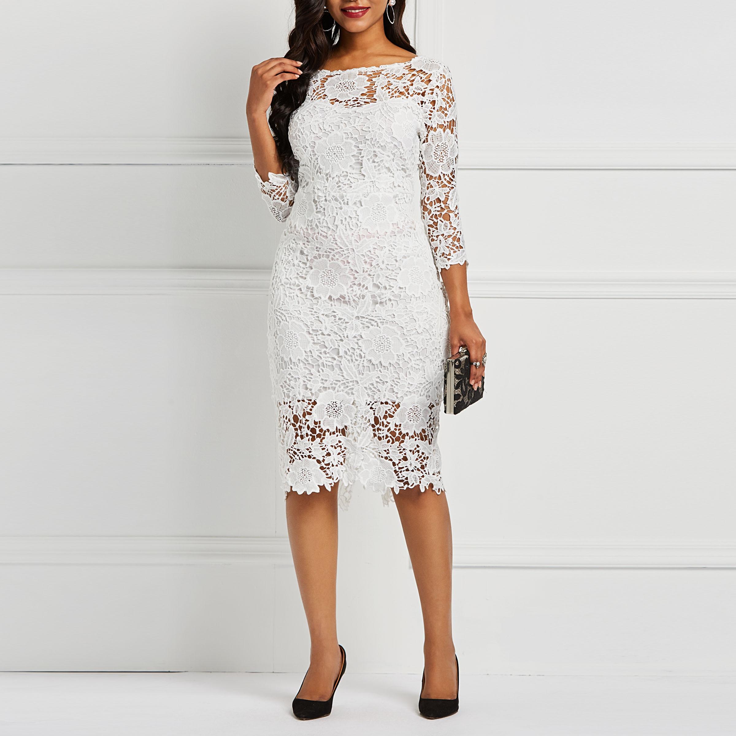 Vestido midi feminino, vestido midi elegante branco