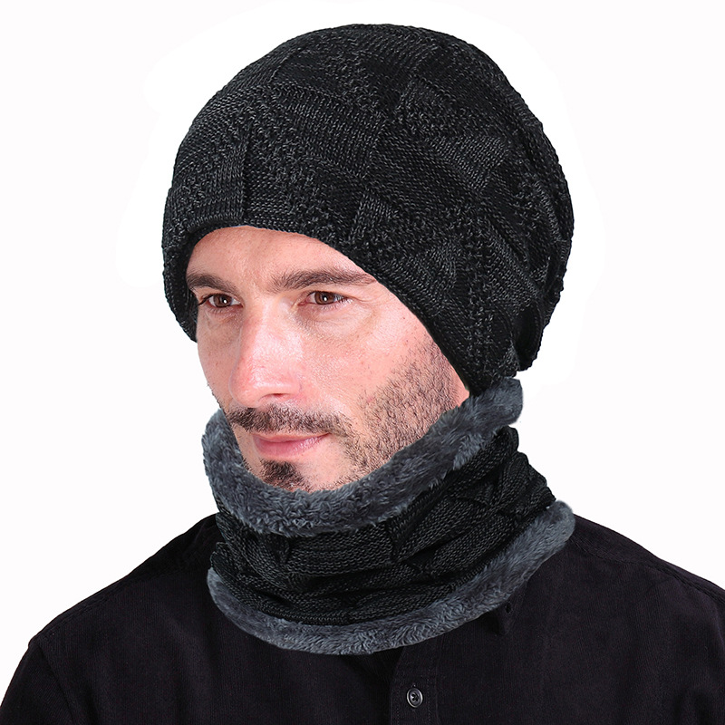 Men Winter Knitted Hats Scarf Set Thicken Plus Velvet Unisex Warm Beanies Soft Women Cotton Solid Scarf Hat Kit