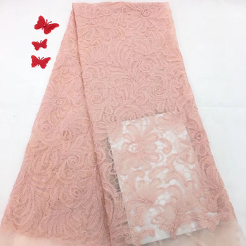 Pink Latest French Nigerian Laces Fabrics High Quality Tulle African Laces Fabric Wedding African French Tulle Lace RF27501