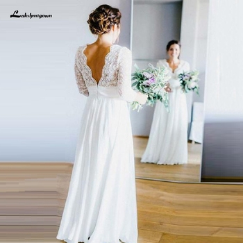 Vestido de novia blanco de gasa de talla grande, bohemio, largo, playa,...