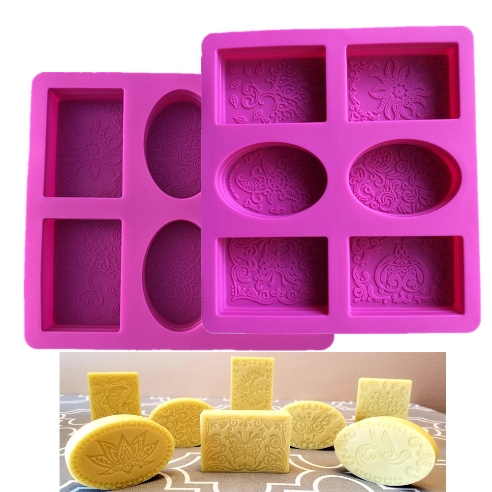 Silicone Soap Mold For Soap Making 3D 6 Forms Oval Rectangle Soap Mould Handmade Craft Flowers Bathroom Kitchen Soap Mold
