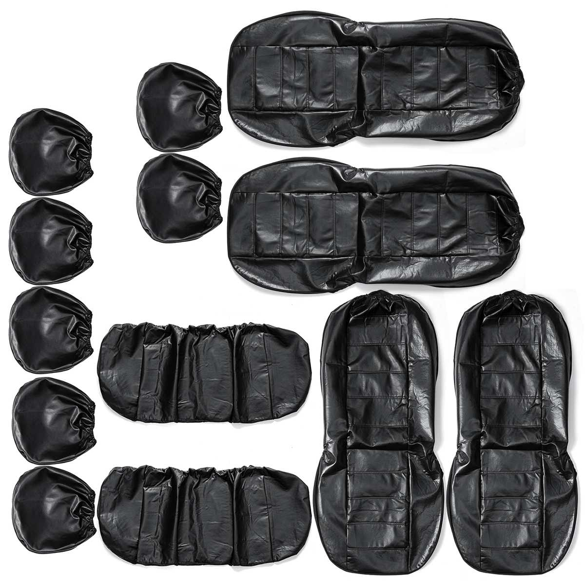 4/9 Sets PU Leather Car Seat Cover Wear-resistant Soft Breathable Wear-resistant Four Seasons Universals Car Seat Cover Black