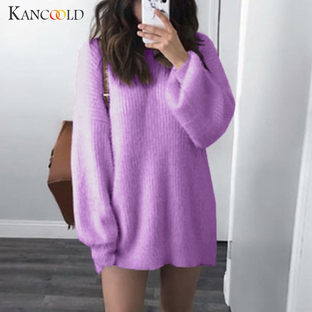 KANCOOLD Autumn Sweater Women Solid Color Long Sleeve Side  Sweater Dress Size S-5XL Knitted Warm Latern Sleeve Top Lazy Loose
