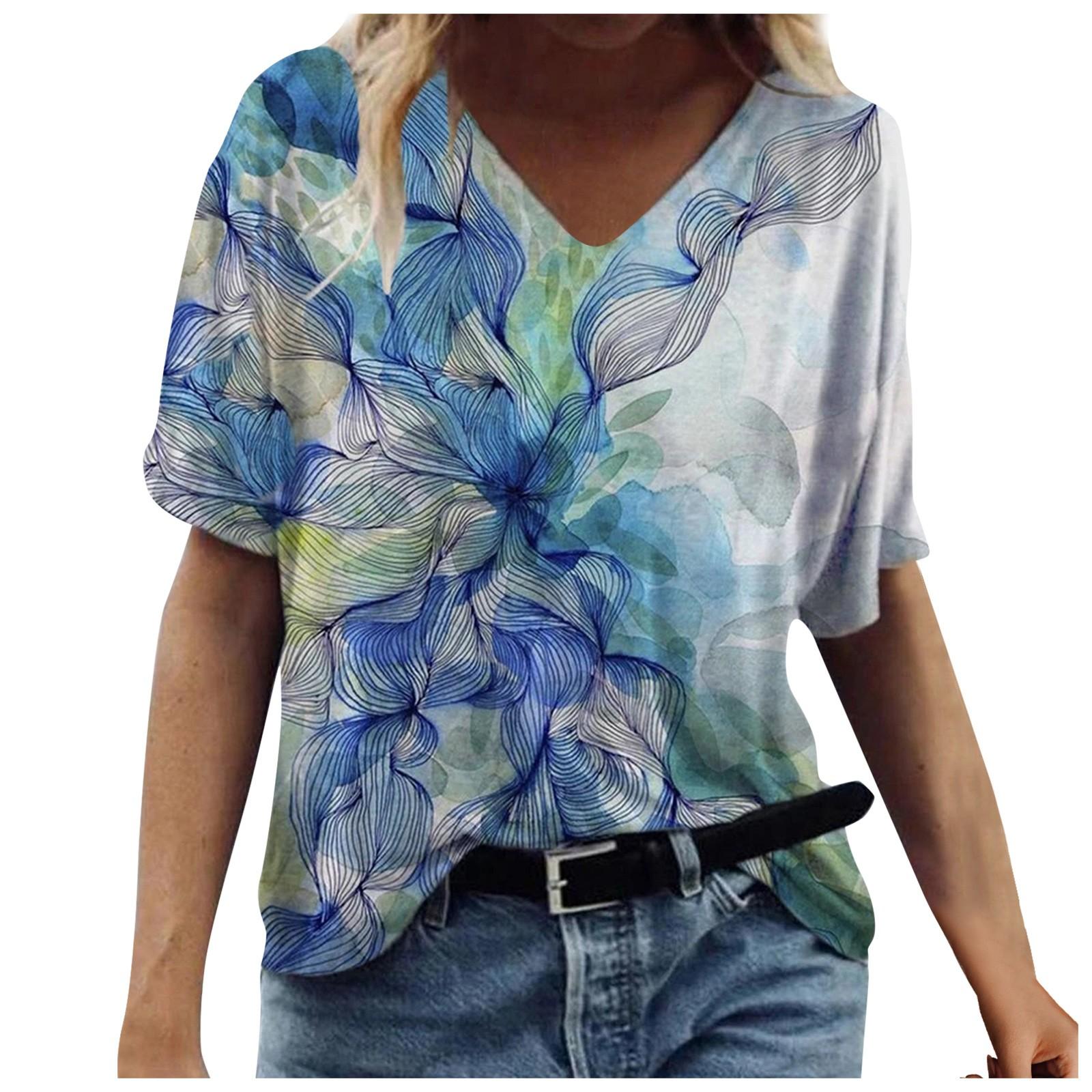 flower pattern Blouses Plus Size Women Short Sleeve Printed Shirts V Neck blusas mujer manga corta young beauty shirts blusas