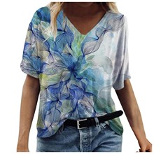 flower pattern Blouses Plus Size Women Short Sleeve Printed Shirts V-Neck blusas mujer manga corta young beauty shirts blusas