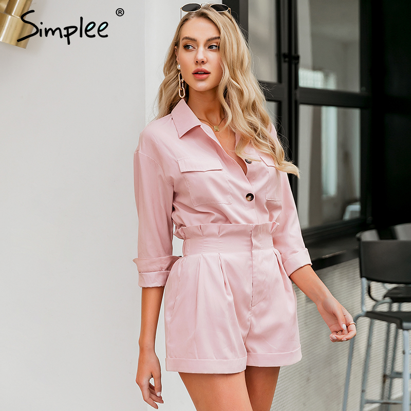 Simplee Casual Chic Two-piece Women Set Long Sleeve Buttons Pockets Female Short Suits High Waist Spring Summer Ladies Sets 2020