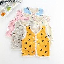 Детские жилеты для девочек и мальчиков; Осенний жилет; Весенняя детская хлопковая верхняя одежда; топы для младенцев; пальто; Осенняя теплая одежда с рисунком животных