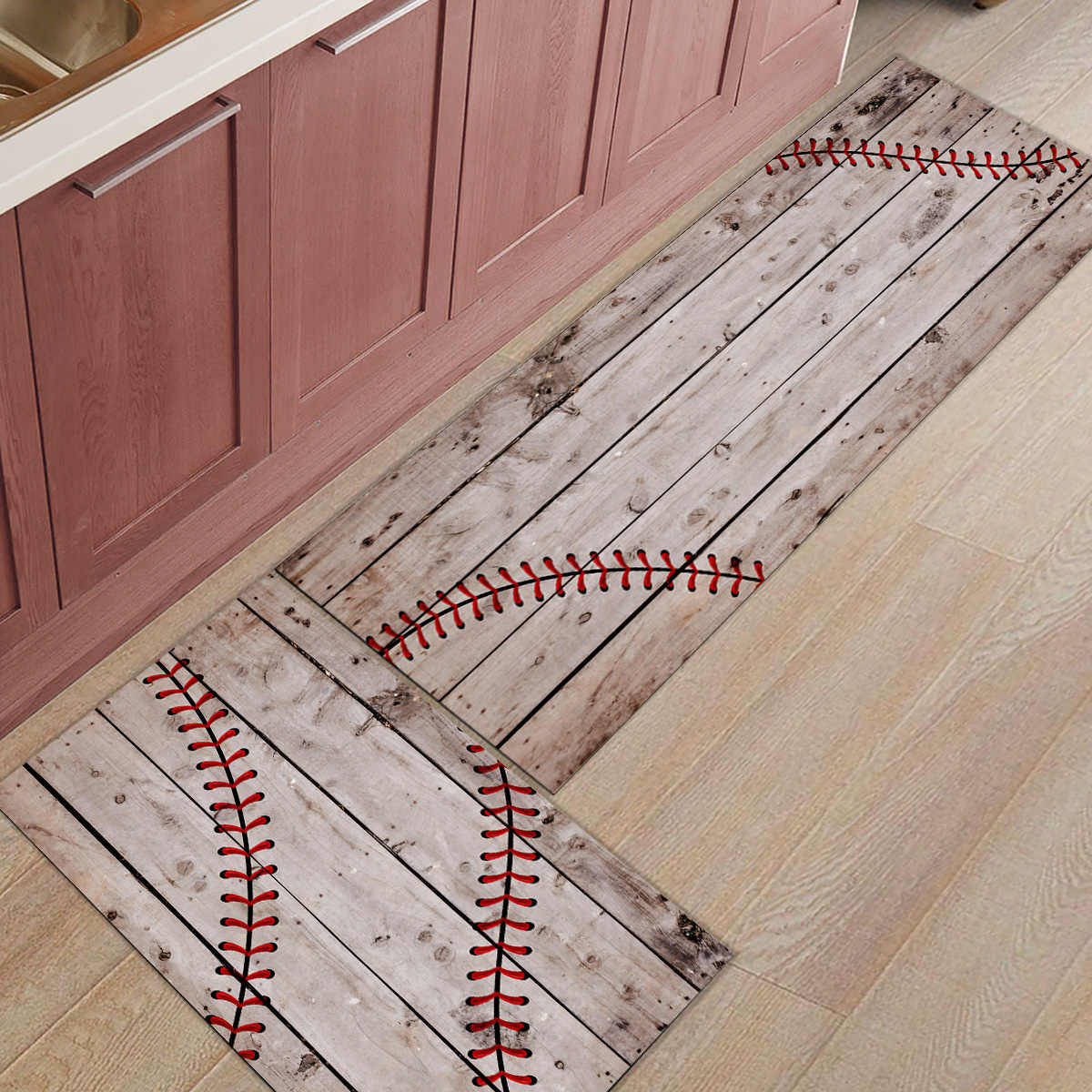 2 ชิ้น/เซ็ตRetroไม้เบสบอลกีฬาห้องครัวBathพรมพรมบ้านEntranceพรมเช็ดเท้าห้องนั่งเล่นเสื่อชั้นพรม