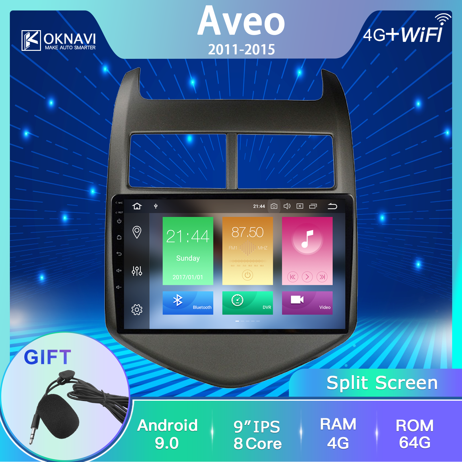 OKNAVI <font><b>Car</b></font> <font><b>Radio</b></font> Android 9.0 Multimedia Player Stereo No <font><b>2</b></font> <font><b>Din</b></font> Gps Bluetooth <font><b>For</b></font> <font><b>Chevrolet</b></font> <font><b>Aveo</b></font> 2011-2013 Support DVR OBD Camera image