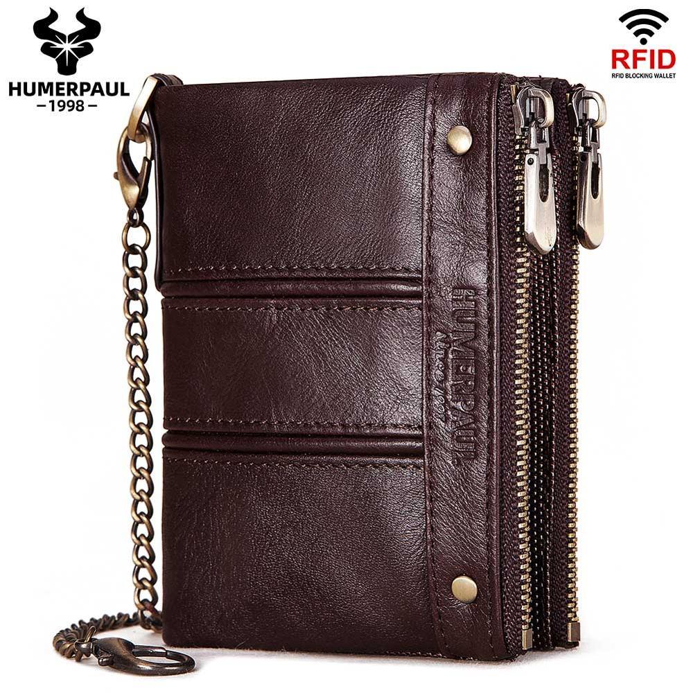 HUMERPAUL hommes portefeuille en cuir véritable Design de luxe fermeture éclair poche à monnaie court homme sac à main support de carte Rfid argent sac homme sacs à main