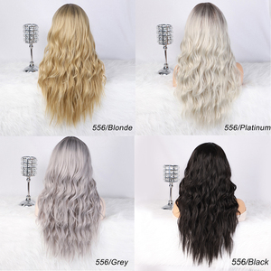 Image 3 - AISI HAIR Long Womens Wigs Ombre Platinum Blonde Wigs Heat Resistant Part Side Synthetic Wavy Wigs for African American Women